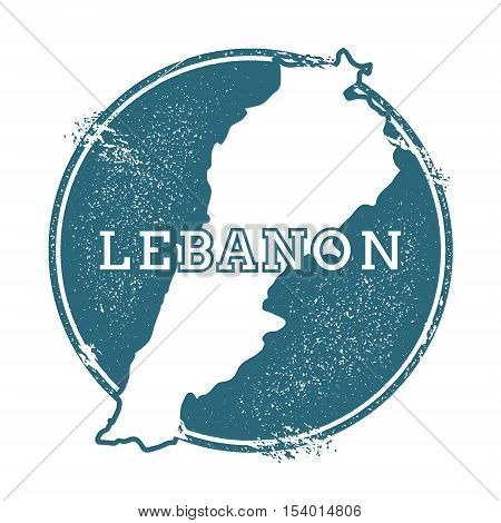 Grunge rubber stamp with name and map of Lebanon vector illustration. Can be used as insignia logotype label sticker or badge of the country. poster