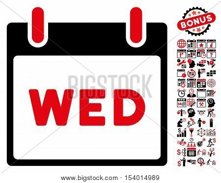Wednesday Calendar Page pictograph with bonus calendar and time management icon set. Glyph illustration style is flat iconic symbols, intensive red and black, white background.