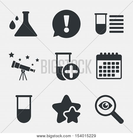 Chemistry bulb with drops icon. Medical test signs. Laboratory equipment symbols. Attention, investigate and stars icons. Telescope and calendar signs. Vector