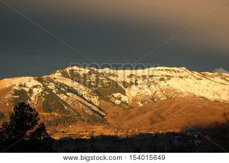 Wasatch Front mountains, Utah, in evening light