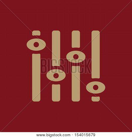 The adjustment icon. Regulator and mixing, volume, settings symbol. Flat Vector illustration