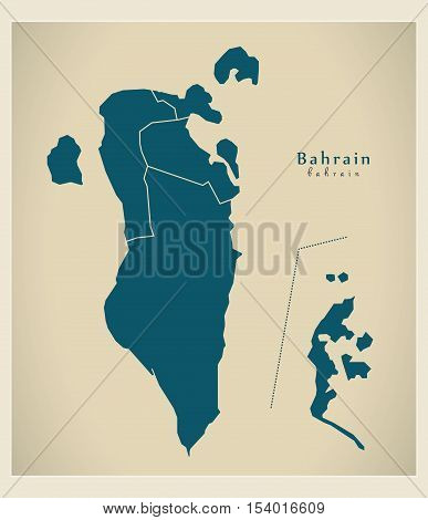 Modern Map - Bahrain with governorates BH vector