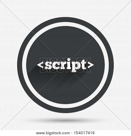 Script sign icon. Javascript code symbol. Circle flat button with shadow and border. Vector