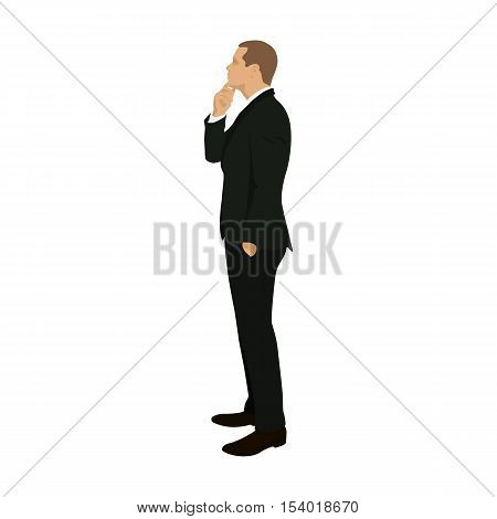 Business man standing and thinking vector illustration. Flat design icon. People. Lawyer teacher boss manager broker. Man tries to find solution