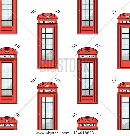 UK London symbol - icons - silhouette - stencil - vector illustration red telephone box pattern isolated white. Modern urban texture