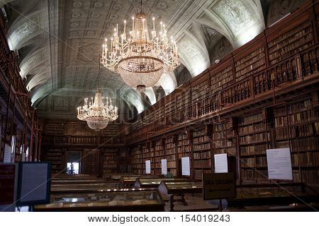 MILAN, ITALY-MAY 28, 2012: The Long Room in Library Brera University of Arts