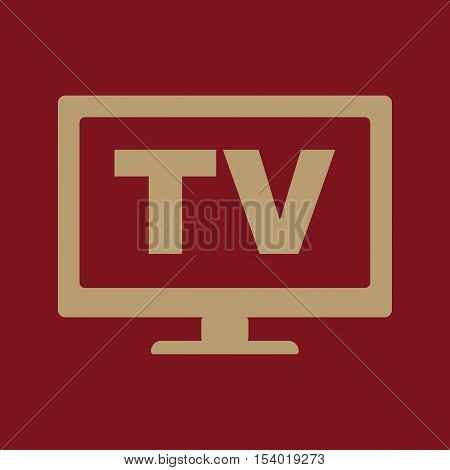 The tv icon. Television and telly, telecasting, broadcast symbol. Flat Vector illustration