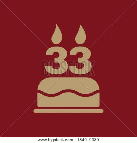 The birthday cake with candles in the form of number 33 icon. Birthday symbol. Flat Vector illustration