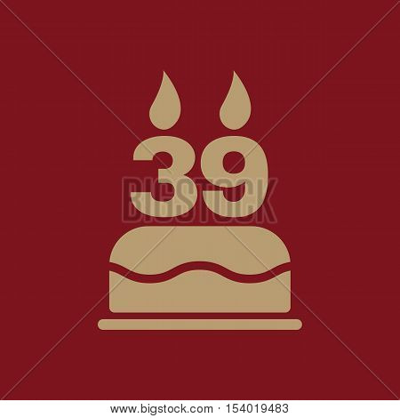 The birthday cake with candles in the form of number 39 icon. Birthday symbol. Flat Vector illustration