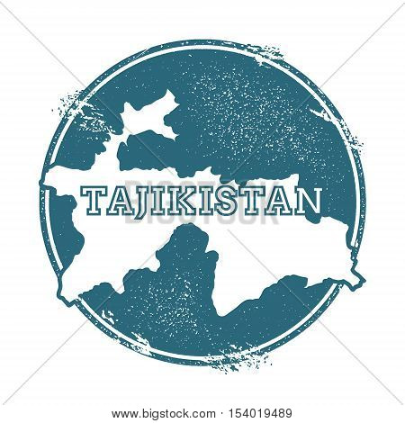 Grunge Rubber Stamp With Name And Map Of Tajikistan, Vector Illustration. Can Be Used As Insignia, L