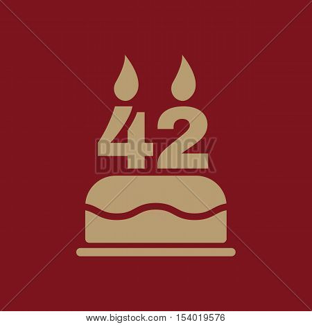 The birthday cake with candles in the form of number 42 icon. Birthday symbol. Flat Vector illustration