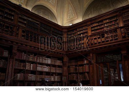 MILAN, ITALY-MAY 28, 2012: The Long Room in Library Brera University of Arts