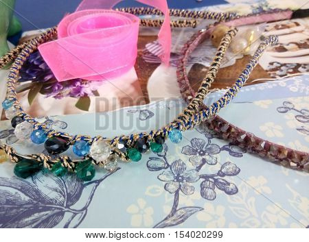 Supplies for jewelry -  ribbon, beads and details