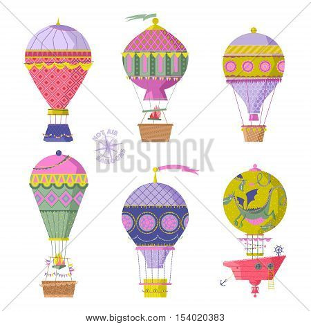 Set of various vintage hot air balloons. Vector illustration