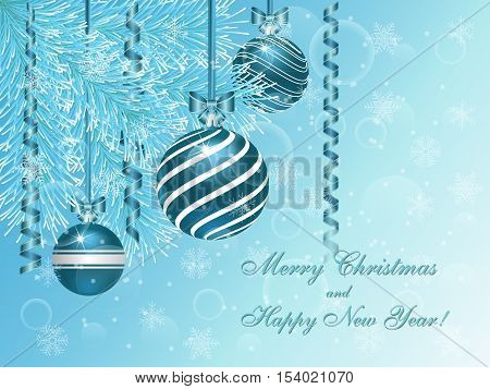Christmas blue spruce decorated with blue balloons and streamers. Vector greeting card with an inscription.