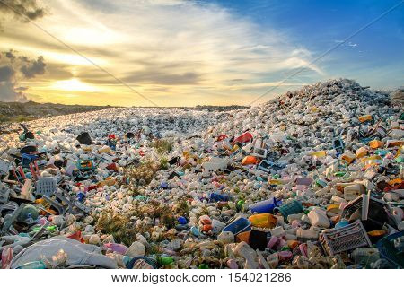Plastic waste dumping site at Thilafuhsi, Maldives