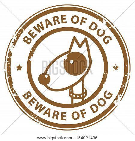 Grunge rubber stamp with dog and the word Beware of Dog written inside the stamp, vector illustration