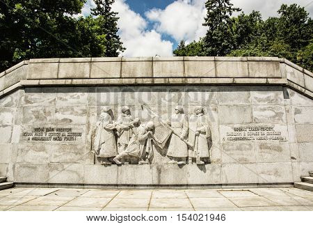 Russian soldiers relief statue in Slavin Bratislava Slovak republic. Memorial monument. Artistic object. Cultural heritage. Architectural theme.