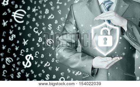 Data protection and insurance. Concept of business security, safety of information from virus, crime and attack. Internet secure system. Money background. World currency.