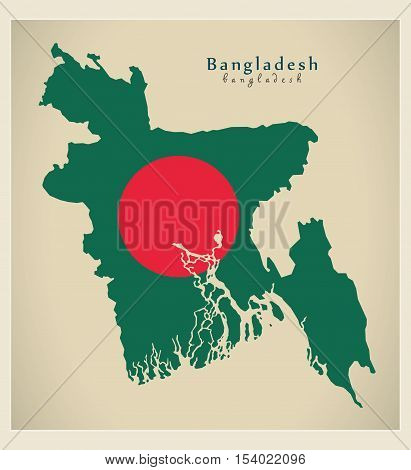 Modern Map - Bangladesh flag colored BD illustration vector