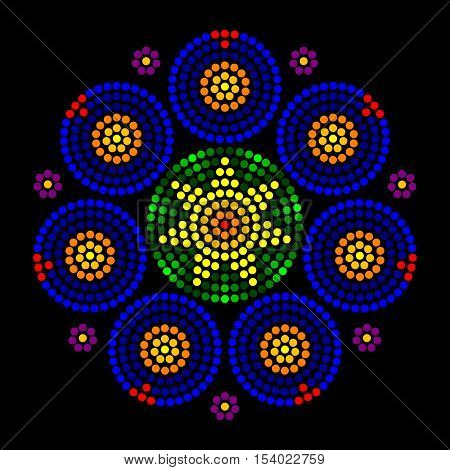 Rosette window radial dot patterns. Leadlight impression generated by single dots beginning from the center, forming circles, patterns and a rose window look, also called Catherine or wheel window.