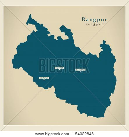 Modern Map - Rangpur BD Bangladesh illustration vector