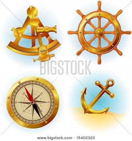 Sea travel icons. Vector.