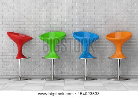 Multicolour Modern Bar Chairs in front of brick wall. 3d Rendering