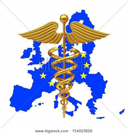 Gold Medical Caduceus Symbol with European Union EU Flag a white background. 3d Rendering