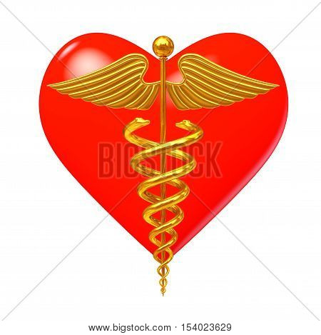 Gold Medical Caduceus Symbol in front of Red Heart on a white background. 3d Rendering