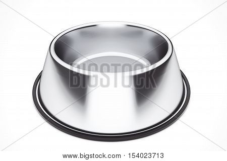 Empty Pets Bowl on a white background. 3d Rendering