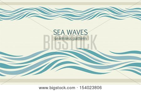 Seamless patterns with stylized sea waves vintage style