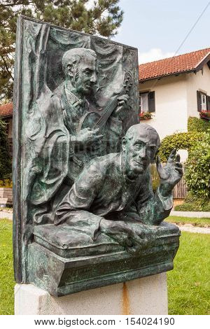 Oberndorf bei Salzburg Austria - August 30 2016: A memorial to Franz Xaver Gruber and Joseph Mohr - the authors of a Christmas carol