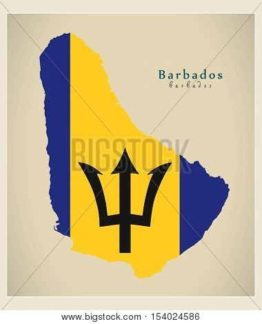 Modern Map - Barbados colored flag BB illustration vector
