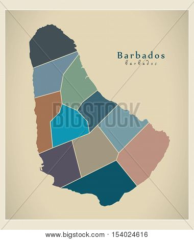 Modern Map - Barbados with parishes colored BB illustration vector