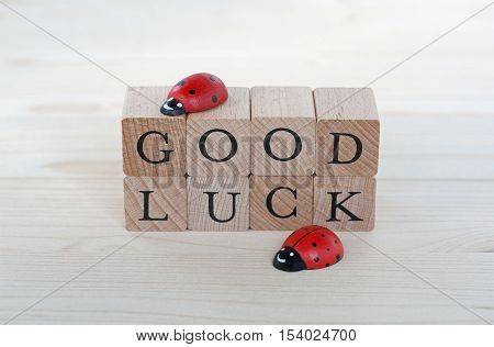 The words good luck and ladybugs on wood