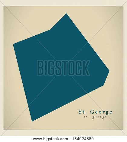 Modern Map - St. George BB Barbados illustration vector