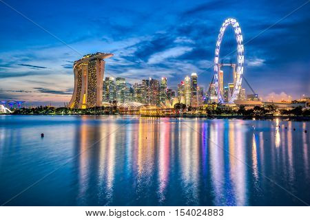 Singapore City Skyline And View Of Marina Bay At Night In Singapore City