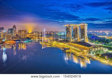 Singapore, Singapore - October 23, 2016: Singapore city skyline and view of Marina Bay at night in Singapore city.