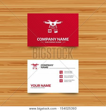 Business card template. Drone icon. Quadrocopter with video and photo camera symbol. Phone, globe and pointer icons. Visiting card design. Vector