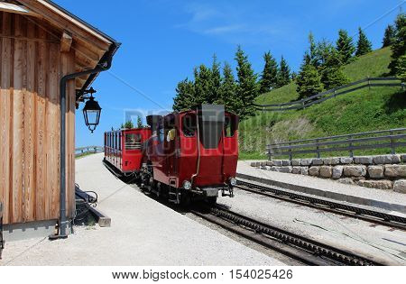 Steam locomotive of a vintage cogwheel railway going to Schafberg, Wolfgangsee / Schafberg Peak (1783m)