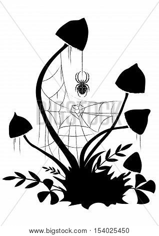 vector illustration with mushroom spiderweb and spider in black and white
