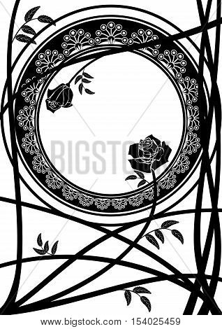 vector frame with branches of roses in black and white