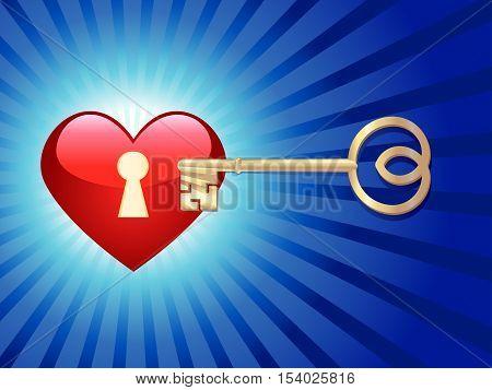 golden key opens lock in red shining heart, vector