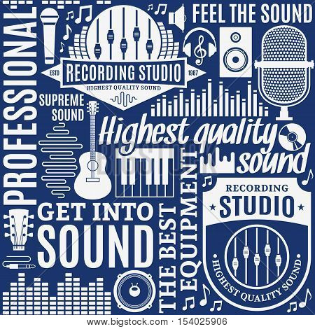 Typographic Vector Recording Studio And Music Label Seamless Pattern