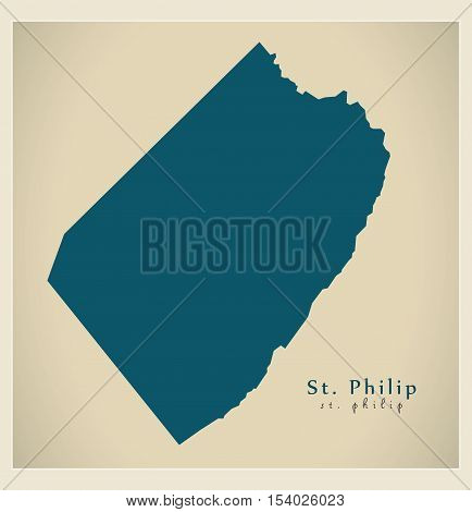 Modern Map - St. Philip BB Barbados illustration vector