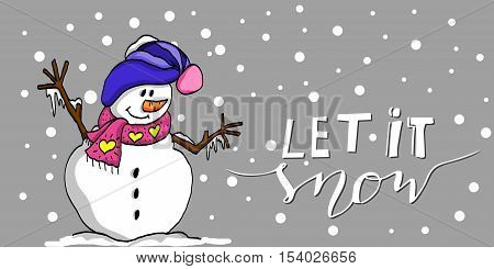 Happy Christmas snowman with handwritten Let it snow