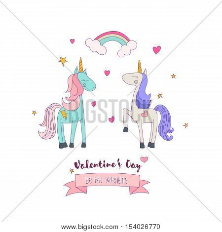 Flat Vector Illustration of Two Cute Unicorn Ponies in Love. St. Valentines Day Card