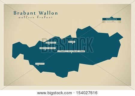 Modern Map - Brabant Wallon BE Belgium illustration vector