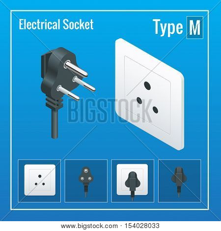 Isometric Switches and sockets set. Type M. AC power sockets realistic illustration. Power outlet and socket isolated. Plug socket